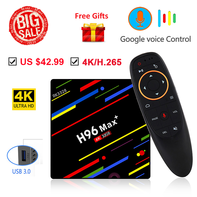 Android 8.1 Smart TV BOX H96 Max RK3328 4GB 32GB 2.4GHz Wifi 4K 3D Support Google Play Store Assistant vocal Youtube décodeur