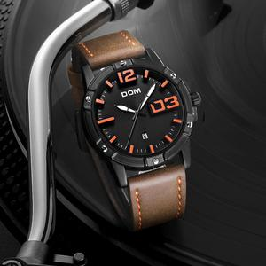 Image 3 - DOM 2018 חדש שעון גברים גדול חיוג אופנתי ספורט קוורץ שעון עמיד למים עור Mens שעוני מותג יוקרה Relogio Masculino M 1218