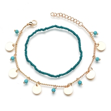 MissCyCy Bohemian Beads Ankle Bracelet for Women Leg Chain Round Tassel Anklet Vintage Foot Jewelry Accessories