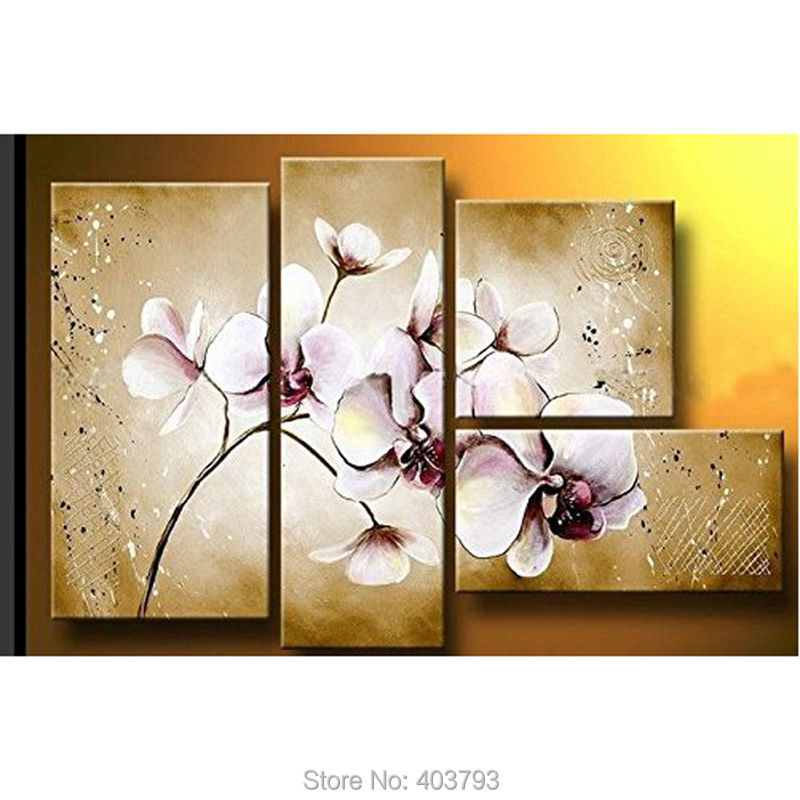 Hand Painted On Canvas Hot Sale Unique Gift Pure Flower Oil Painting 4-pieces Unframed Landscape For Living Room Home Wall Decor