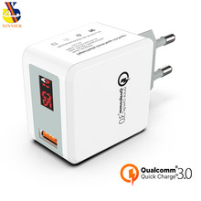 Quick Charge 3.0 USB Fast Charger QC 3.0 QC3.0 Wall Charger Adapter for Samsung Galaxy S9 Huawei FCP Xiaomi LG Mobile Phone LED(China)