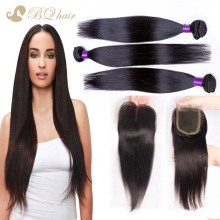 Unprocessed 8A Cheap Peruvian Straight With Closure Human Virgin Hair Lace Closure With Bundles High Quality Human Hair Weaves