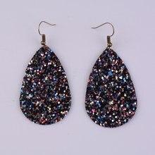 Rainbery Teardrop PU Leather Earrings Sequins Looking Various MultiColors Bohemia Water Drop Dangle Earring JE0656