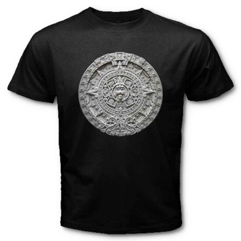 Erkek yaratıcı tasarım aztek takvimi Sunstone meksika sanat oyma Maya Mayans T-Shirt