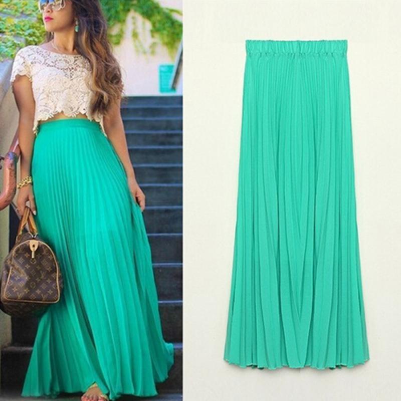 a085bc34d1 Bohemian Vintage pleated Skirt all-match Ruffles Maxi Falda Elastic high  waist slim Skirts Women Ukraine Beach Skirt