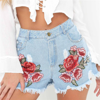2017 Floral Embroidery Denim Shorts Women Light Blue Flower Embroidered Shorts Casual Jeans Short Pants Summer