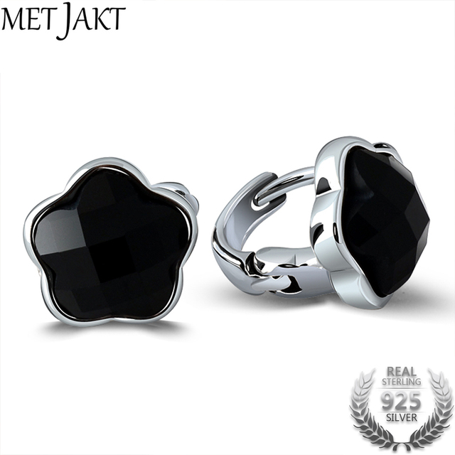 MetJakt Natural Black Agate Clip Earrings Solid 925 Sterling Silver Star Earrings for Women and Girl's Party,wedding Jewelry-in Earrings from Jewelry & Accessories on Aliexpress.com | Alibaba Group