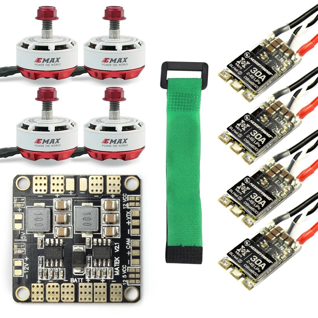 Mini Drone de course RC sans balai moteur ESC combiné 4x EMAX RS2306-2750KV & HobbyWing XRotor Micro blheli-s 30A + Distribution de puissance