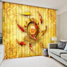 Золотая занавеска s рыбка занавеска 3D занавеска роскошный затемненный оконный занавес гостиная