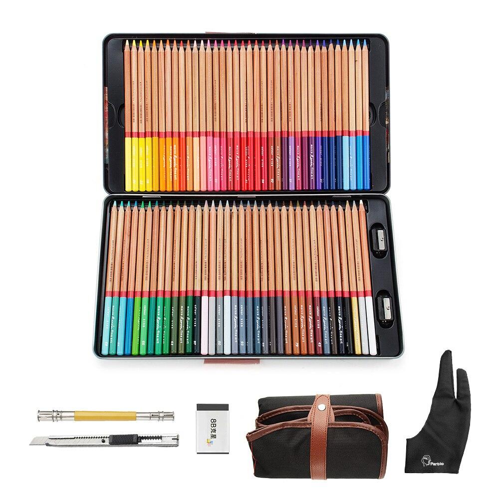 Marco 72 couleurs bois crayons De couleur ensemble Lapis De Cor artiste peinture huile couleur crayon avec étui en métal + gant + rouleau crayon sac