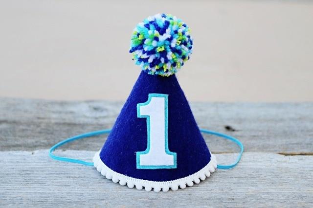 Boys 1st Birthday Blue Hat Mini Party First Nautical Felt Newborn