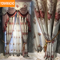 Custom curtains American chenille jacquard luxury high curtain wedding room cloth blackout curtain tulle valance drape B001