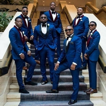 купить Royal Blue Mens Suits for Wedding Slim Fit Wedding Tuxedo Suit Jacket+Pants+Vest 3 pieces Man Suit Costume Homme Terno Masculino по цене 5191.41 рублей