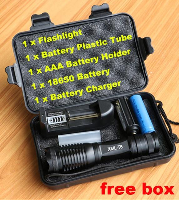 CREE XML T6 LED Flashlight 8000 Lumens Lanterna  Adjustable led Torch Zoom Tactical Flashlight + Charger +1* 18650 Battery