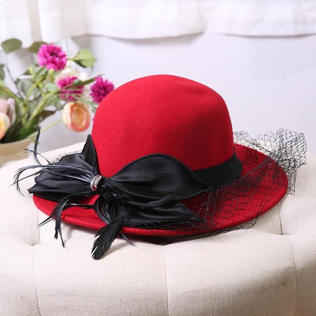 Luxury Australian Wool Bowler Bucket Hat For Women Big Brim Veil Fedora Hat  Red Blue Female Winter Wedding Cap Hat 2018 848eaab3df7