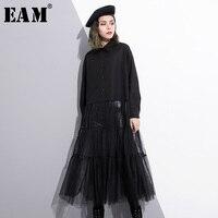 [EAM] 2018 Hot Sale New autumn Lapel Long Sleeve Black Mesh Split Joint Loose Long Big Size Dress Women Fashion Tide JE427
