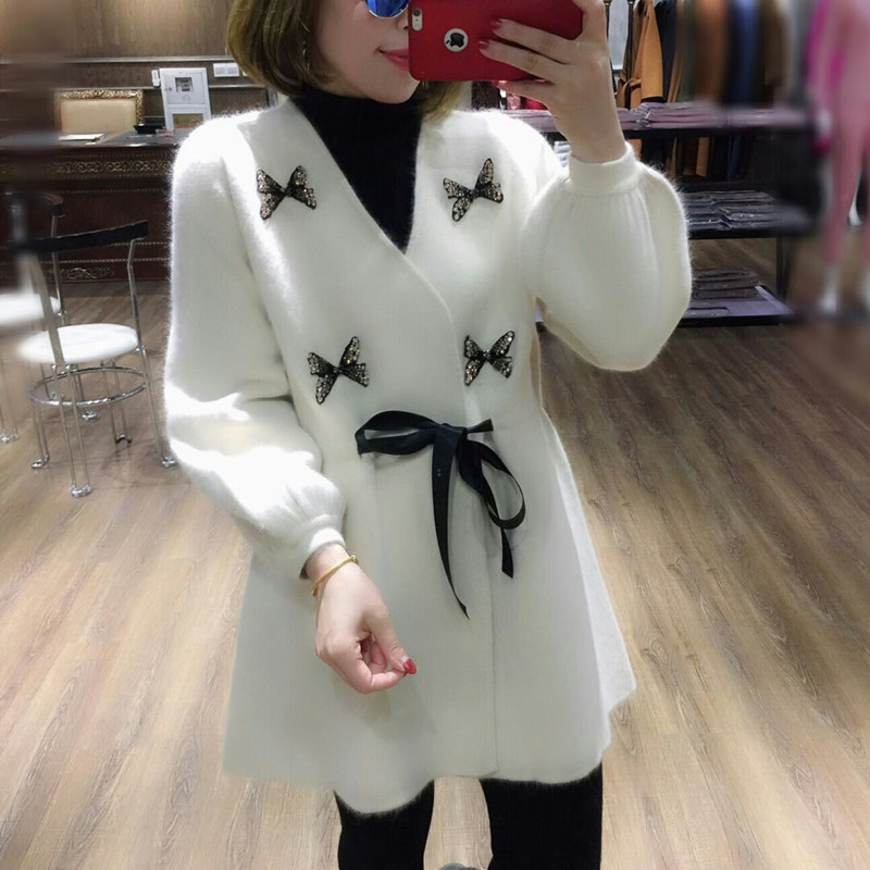 Jumper Sale V neck Full 2018 New Velvet Sweater Female Long Section Thick Water Butterfly Rhinestone Waist Cardigan Knit Woman
