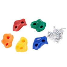 TOP!-10Pcs Climbing Frame Mixed Color Rock Wall Stones Hand Feet Holds Grip Hardware Kits For Kids Chidren Outdoor Fu