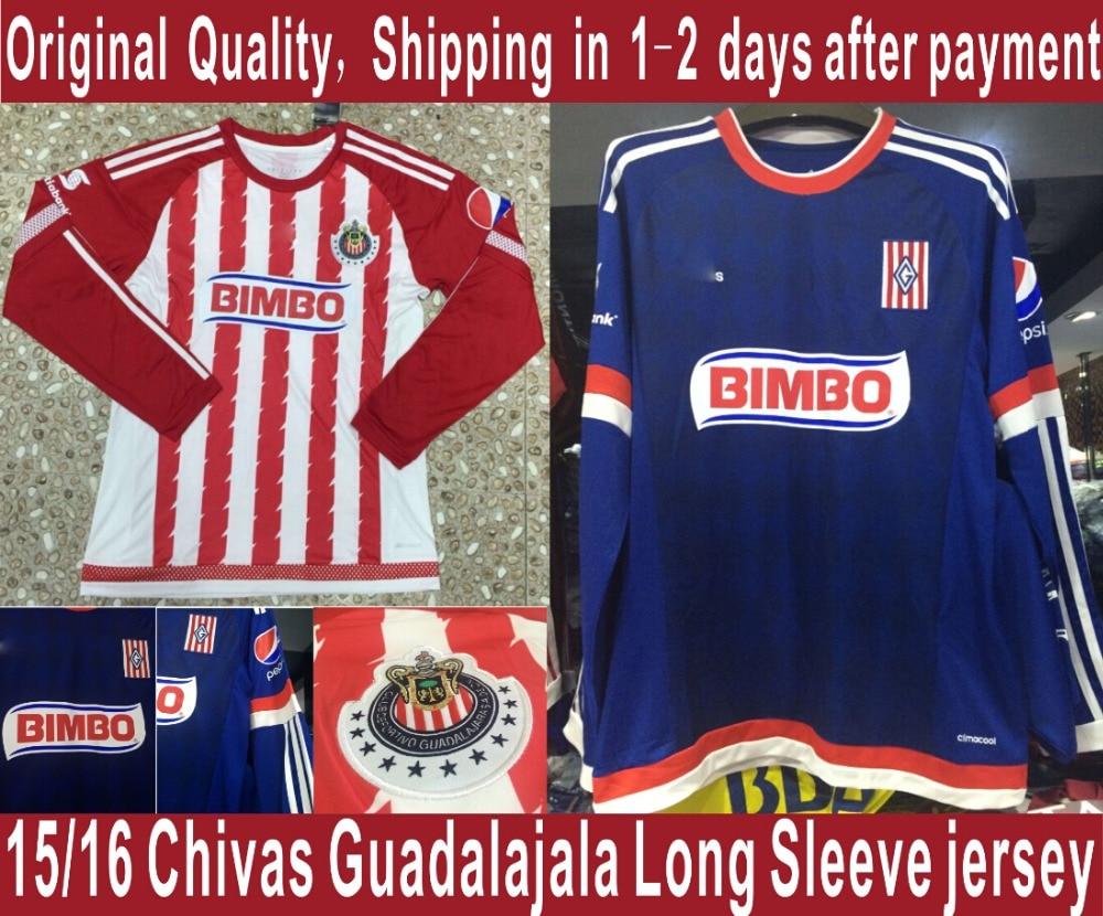 new style faf35 6a1fe soccer jersey Chivas Guadalajara long sleeve jersey 2016 ...