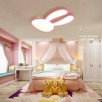 Prenses Odası Pembe veya Beyaz Sıva Üstü Modern Led Tavan Avizeler Çocuk Kid Odası Için Tavşan Kız Odası Avize