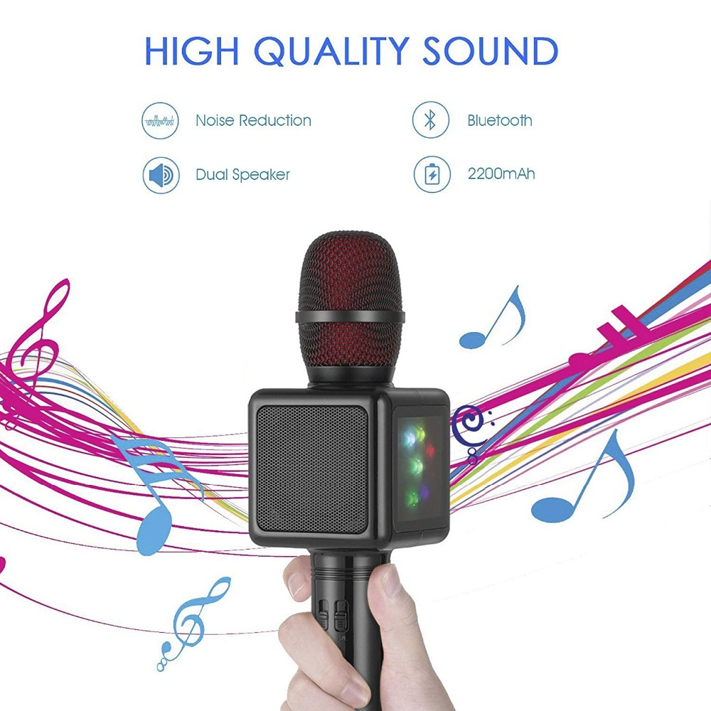 Wireless Karaoke Microphone,Cocopa Portable Handheld Mic Built-in Speaker With Multi-function Professional Classic-style Karaoke