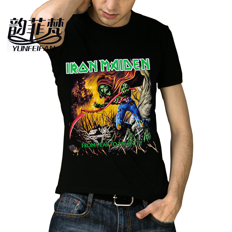 2016 new 3D Iron Maiden <font><b>From</b></font> <font><b>Fear</b></font> <font><b>To</b></font> <font><b>Eternity</b></font> Death metal rock Men t-shirts 3D Printing t shirts Size,S-XXL J1021