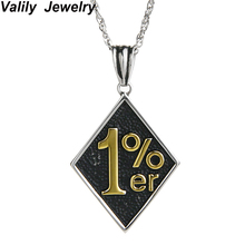 Valily Jewelry Pendant Necklaces Stainless Steel Fashion 1%er Rhombus 55cm Chain Necklace multilayer