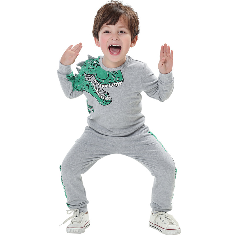 2019 Spring Baby Boy Clothes Cotton Long Sleeve Dinosaur Style Pullover Coat+pants 2pcs Children Boy Tracksuit Clothing set 2-8Y