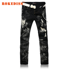 Men Straight Slim Men s clothing mens jeans male pantalones vaqueros hombre black printing Long pants