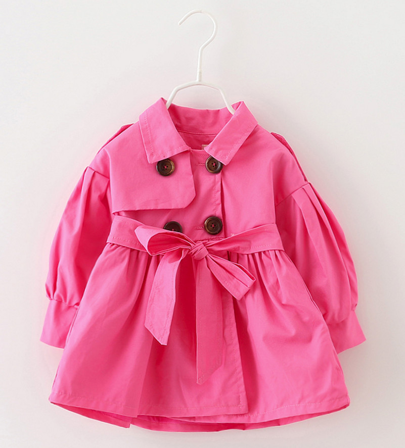 New Girls Trench Coat Spring Children Clothing Kids Big Bow Blazer Jackets Tops Baby Girl Clothes Fashion Infant Toddler Outwear