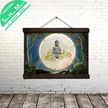 Будда На Луне Свиток Живопись Винтаж Холст Плакат и Печать Wall Art Картина Гостиная Спальня