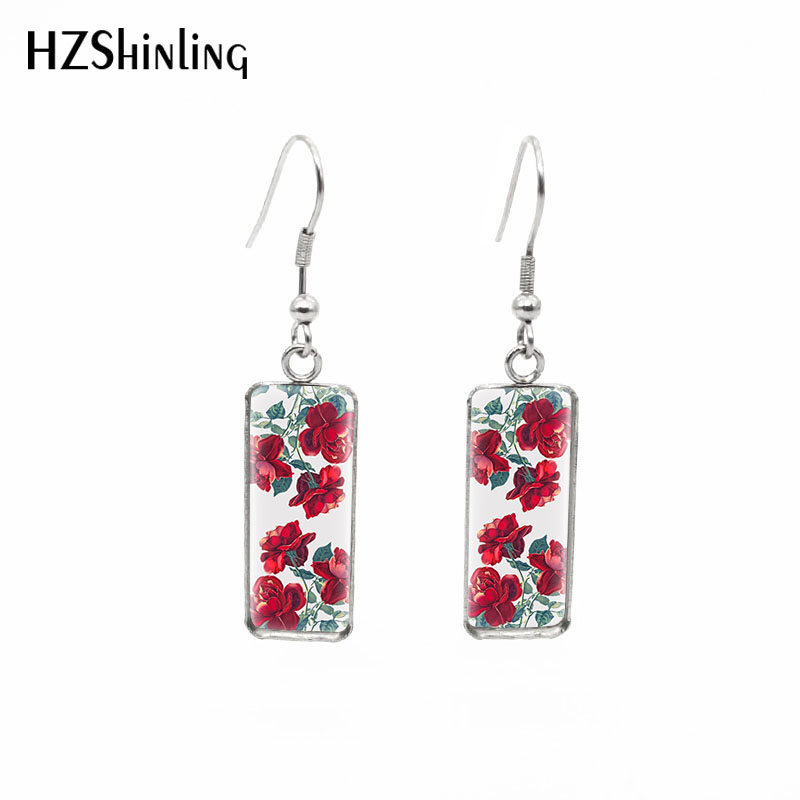 2019 New Red Rose Rectangular Earring Flowers Art Fish Hook Earring Romantic Ear Rings Hand Craft Jewelry