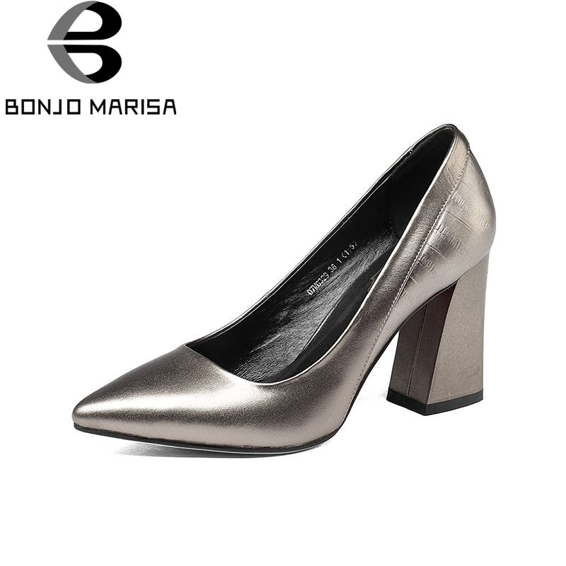 BONJOMARISA 2018 Spring Autumn Concise Metal Cow Leather Pumps Women Pointed Toe Shallow Ol Shoes Woman High Chunky Heels