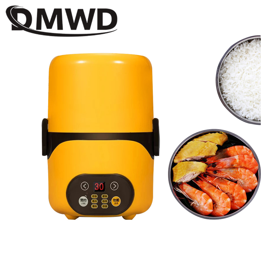 DMWD Multifunction Electric Lunch Box 2 Layers Food Warmer Mini Rice Cooker Timer Lunchbox Intelligent Rice Cooker Meal Steamer цена и фото