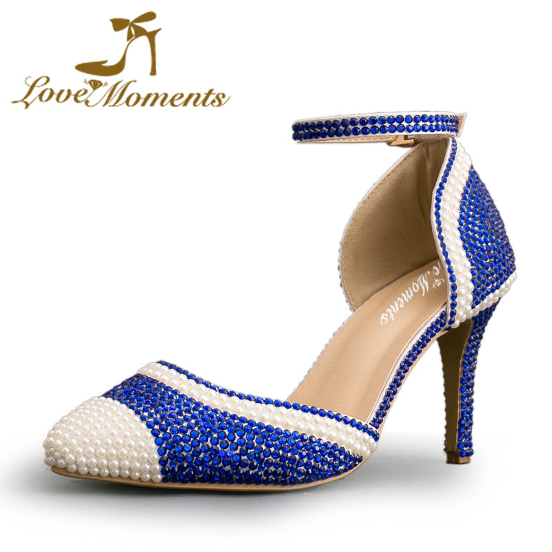 Love Moments Blue Pearl high-heeled shoes rhinestone wedding shoes handmade crystal Sandals pointed-toe dress party pumps Straps women pumps shoes pointed toe thin heels crystal shoes wedding shoes bridal shoes rhinestone handmade female high heeled