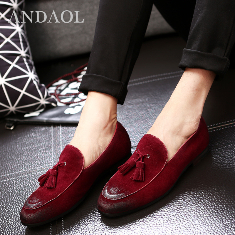 Robe Mode Véritable Soirée Andaol Top Noir Chaussures gris Cuir D'affaires Rouge Qualité Mocassins jaune Hommes Appartements vin De En wmNn80v