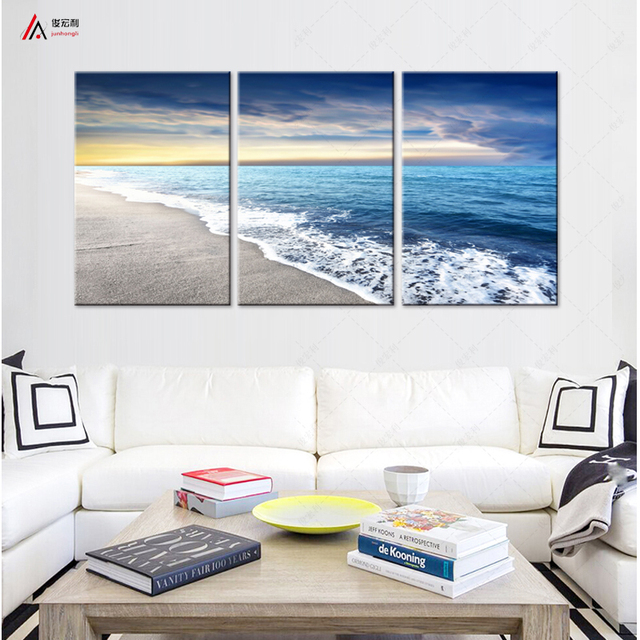 Triptych Wall Art Canvas Prints Home Decoration Sunset And Waves Beach  Modular Pictures Posters And Nordic