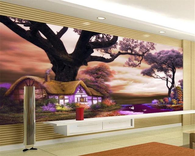 Beibehang Wallpaper Kustom 3d Gaya Eropa Pohon Lukisan Cat Minyak