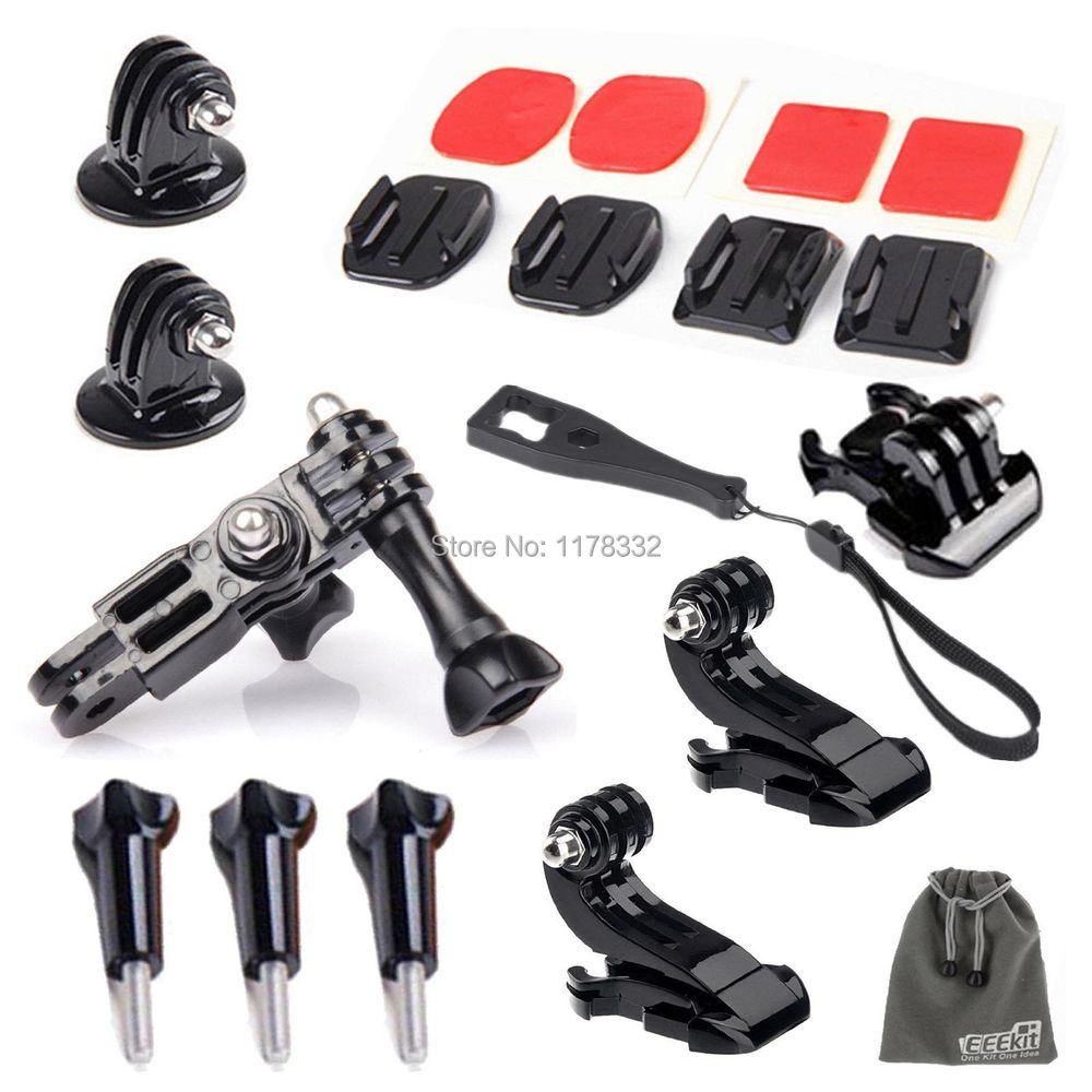 15-in-1 accessary kit for Gopro HD Hero 4 3+ 3 2 GoPro Grab Bag of Mount Quick Release Buckle + Long Screw + Flat Surface