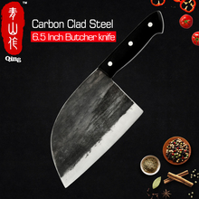 تشينغ اليدوية مزورة تجهيز عالية الكربون يرتدون الصلب سكين الجزار كامل تانغ مقبض المطبخ الطبخ الساطور جزار فأس سكين