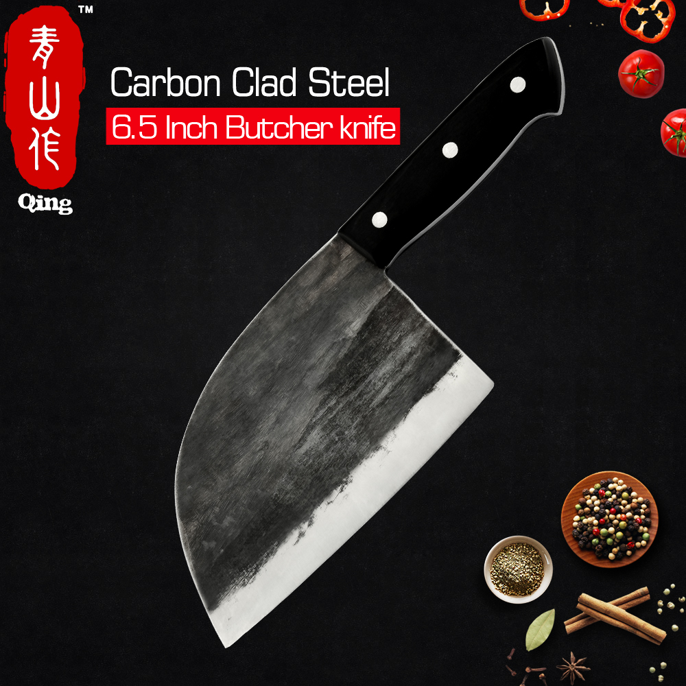 Qing Handmade Forged Processing High-carbon Clad Steel Butcher Knife Full Tang Handle Kitchen Cooking Cleaver Butcher Axe Knife image