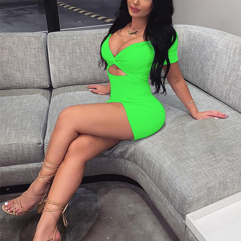 Summer Dress 2019 Neon Green Dress Deep V Neck Wrap Bodycon Mini Dress Women Short Sleeve Sexy Club Party Hollow Out Vestidos in Dresses from Women 39 s Clothing