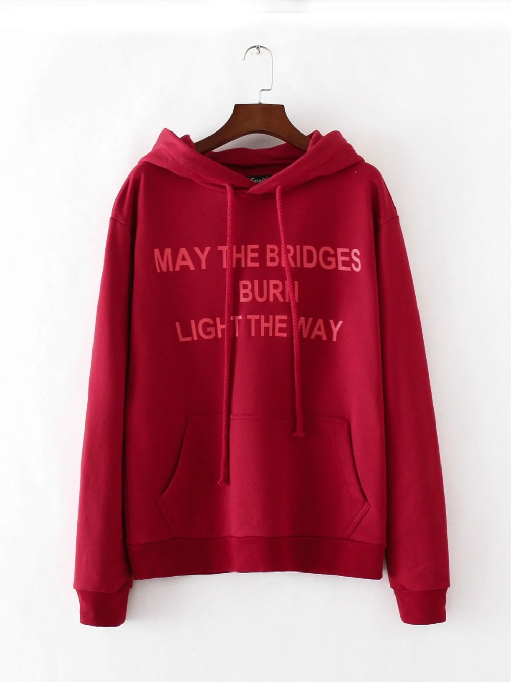 Spring Autumn Women's Red Cotton Print Letter Long Sleeve Novelty Hooded Hoodies Sweatshirts