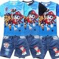Novo 2016 Retail Crianças Jogo Dos Desenhos Animados Do Cão de Patrulha moda terno jeans meninos define t-shirt + pant 2 pcs Roupa de crianças