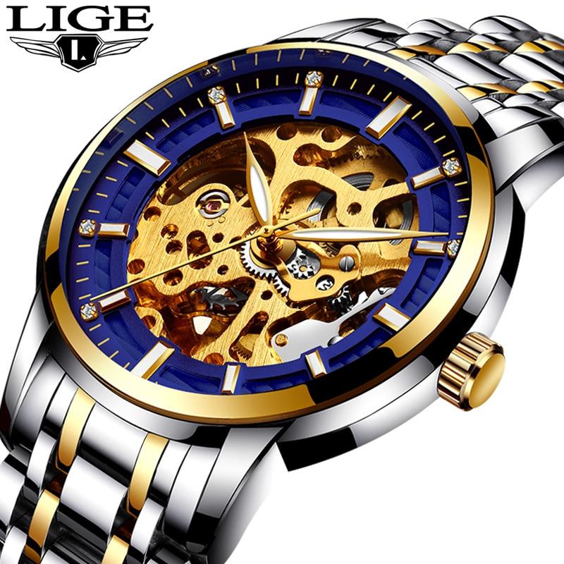 5d74ad42794 Relogio masculino LIGE Mens Relógios Top Marca de Luxo Automático Mecânica  Assista Homens de Aço Completa Negócios Relógios Esportivos Prova D  Água