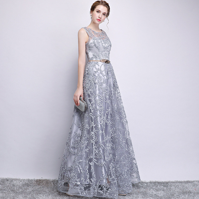 Gray Elegant Long Bridesmaid Dress 6