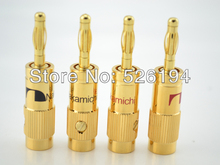 Free shipping 4pcs Nakamichi Gold Plated Speaker Banana Plug Audio Connector
