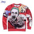 2016 New Hot Red 3D Sweatshirts Men Long Sleeve Thin Hoodies Good Casual Sweatshirt Zombie Digital Printing Size S-XXL