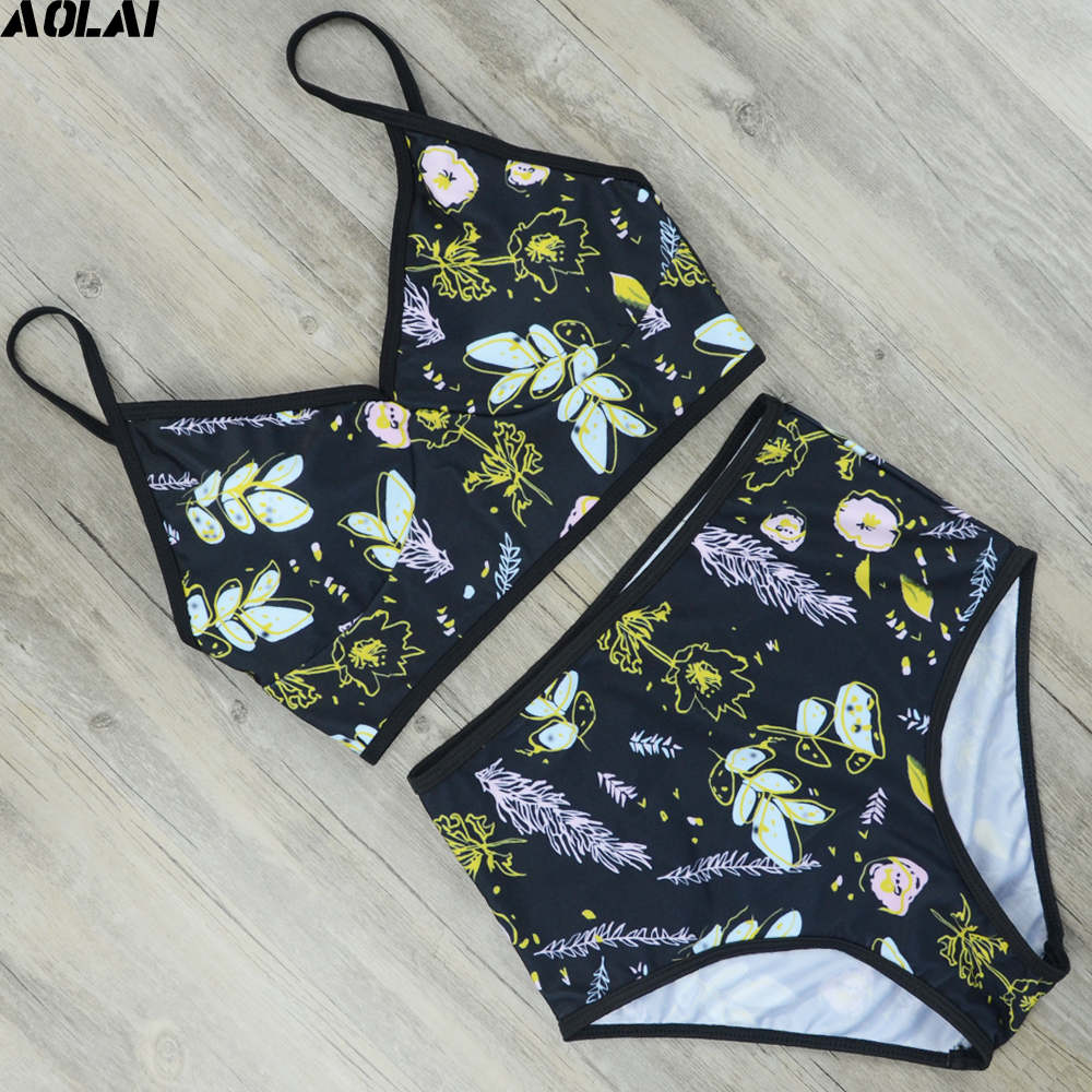High Waist Bikini 2017 Floral Swimwear Women Push Up Swimsuit Sexy S-4XL Biquini Crop Top Bathing Suit Maillot De Bain Beachwear s to xl 2016 sexy push up bikini strappy swimsuit swimwear women halter bathing suit bather biquini maillot de bain