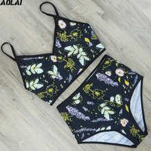 265542065df High Waist Bikini 2019 Floral Swimwear Women Push Up Swimsuit Sexy S-XL  Biquini Crop Top Bathing Suit Maillot De Bain Beachwear